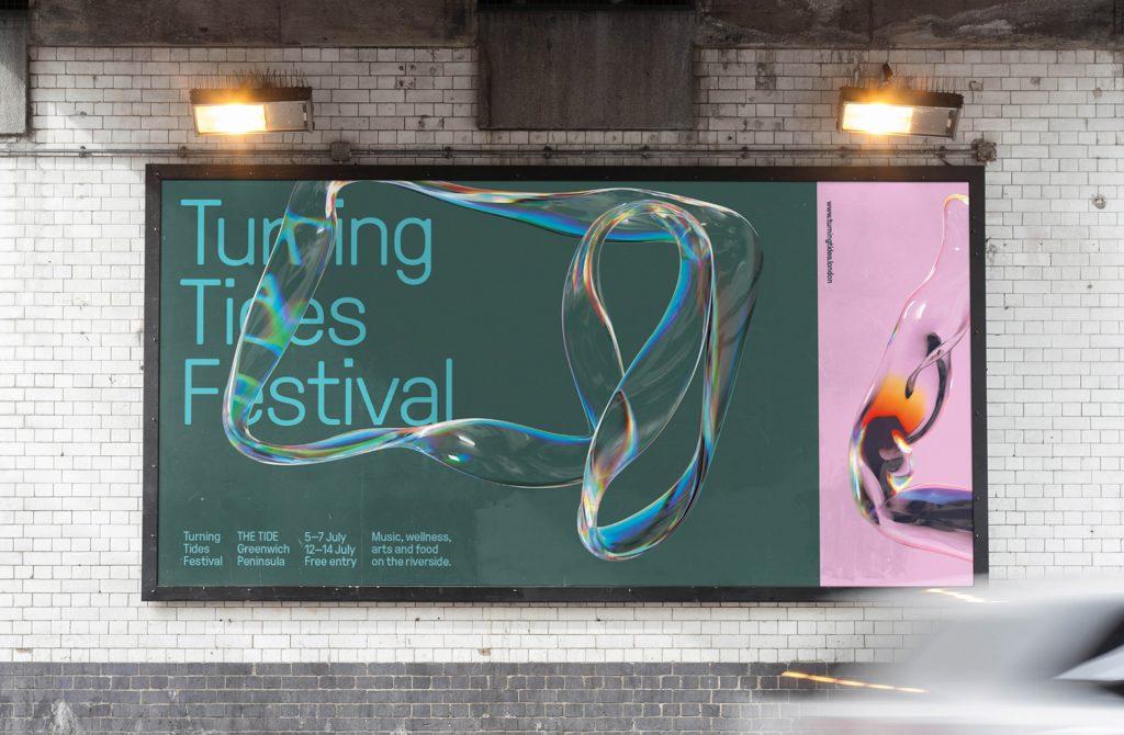 Unikatowa liquidowa grafika reklamowa na bilboardzie. Atrakcyjna grafika z napisem Tuming Tides Festival