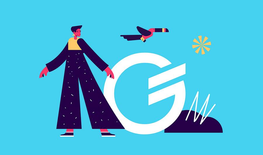 Prosta i minimalistyczna grafika reklamowa przedstawia człowieka i lecącego ptaka (tukana)