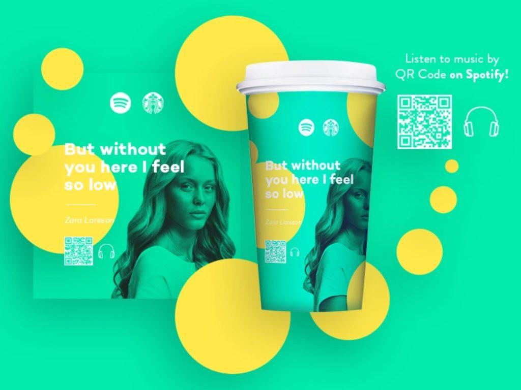 Grafika reklamowa Starbucks, kubek na kawę z kodem spotify