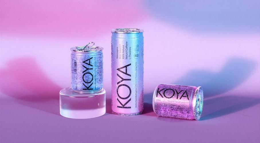 Puszki z napojem KOYA zdjęcie reklamowe z matalicznym efektem